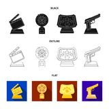 Gold pistol, silver prize for the best supporting role and other prizes.Movie awards set collection icons in black,flat. Outline style vector symbol stock Royalty Free Stock Photography