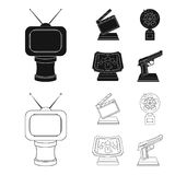 Gold pistol, silver prize for the best supporting role and other prizes.Movie awards set collection icons in black. Outline style vector symbol stock Stock Photo