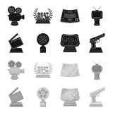 Gold pistol, silver prize for the best supporting role and other prizes.Movie awards set collection icons in black. Monochrome style vector symbol stock Royalty Free Stock Image