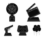 Gold pistol, silver prize for the best supporting role and other prizes.Movie awards set collection icons in black style. Vector symbol stock illustration Royalty Free Stock Photos