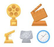 Gold pistol, silver prize for the best supporting role and other prizes.Movie awards set collection icons in cartoon. Style vector symbol stock illustration Stock Photos