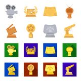 Gold pistol, silver prize for the best supporting role and other prizes.Movie awards set collection icons in cartoon. Flat style vector symbol stock Royalty Free Stock Photos