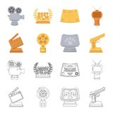 Gold pistol, silver prize for the best supporting role and other prizes.Movie awards set collection icons in cartoon. Outline style vector symbol stock Stock Photo