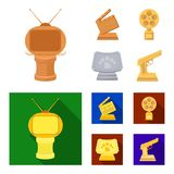 Gold pistol, silver prize for the best supporting role and other prizes.Movie awards set collection icons in cartoon. Flat style vector symbol stock Royalty Free Stock Image
