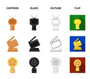Gold pistol, silver prize for the best supporting role and other prizes.Movie awards set collection icons in cartoon. Black,outline,flat style vector symbol Stock Images