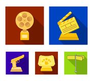 Gold pistol, silver prize for the best supporting role and other prizes.Movie awards set collection icons in flat style. Vector symbol stock illustration Stock Photos