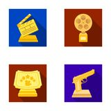 Gold pistol, silver prize for the best supporting role and other prizes.Movie awards set collection icons in flat style Stock Image