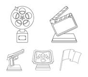 Gold pistol, silver prize for the best supporting role and other prizes.Movie awards set collection icons in outline. Style vector symbol stock illustration Stock Photography