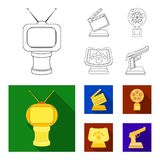 Gold pistol, silver prize for the best supporting role and other prizes.Movie awards set collection icons in outline. Flat style vector symbol stock Stock Photo