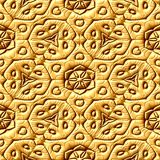 Gold plastic geometric seamless pattern background with floral ornaments Royalty Free Stock Photography