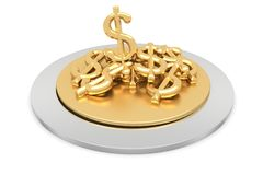 Gold plate containing golden dollars Royalty Free Stock Photos
