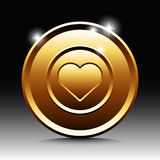 Gold plate with love shape Stock Photos