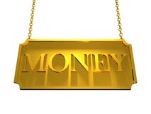 Gold Plate Money. With strings vector illustration