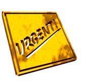 Gold plate urgent Royalty Free Stock Images