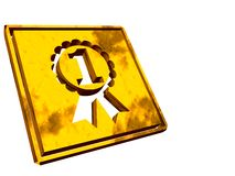 Gold plate, winner, victory. Stock Photo