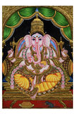 Gold plated ganesha painting Royalty Free Stock Images
