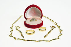 Gold-plated jewellery Stock Photo