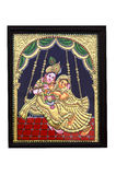 Gold plated krishna and radha painting. Beautiful Gold plated krishna and radha painting at sale in art and craft fair at chandigarh india Stock Images