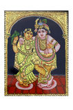 Gold plated krishna and radha painting. Beautiful Gold plated krishna and radha painting at sale in art and craft fair at chandigarh india Stock Photography