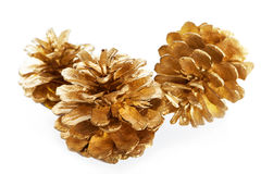 Gold plated pine cones macro isolated Royalty Free Stock Photos