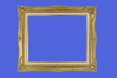Gold plated quad-rate wooden picture frame Royalty Free Stock Images