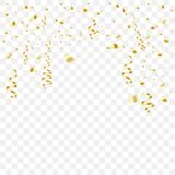 Gold-plated serpentine and tinsel falls. Isolated background. Vector illustration. royalty free illustration