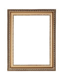Gold plated wooden frame with clipping path. Picture frame to put pictures in Royalty Free Stock Photo
