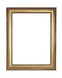 Gold plated wooden frame with clipping path. Picture frame to put pictures in Royalty Free Stock Image