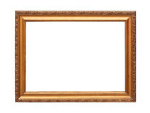 Gold plated wooden frame with clipping path. Picture frame to put pictures in Stock Photography