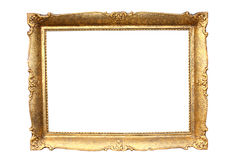 Gold plated wooden picture frame. Isolated on white royalty free stock image