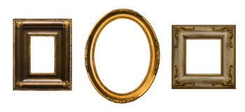 Gold plated wooden picture frame. Baroque picture frames to put your own pictures in Stock Image
