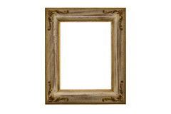 Gold plated wooden picture frame. Baroque picture frame to put your own pictures in Stock Images
