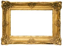 Gold Plated Wooden Picture Frame w/ Path royalty free stock photography