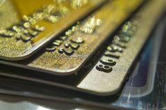 Gold and platinum credit cards close up royalty free stock photo