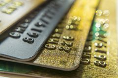 Gold and platinum credit cards close up royalty free stock photos