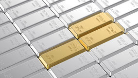 Gold and platinum ingots. Computer generated 3D photo rendering Stock Images