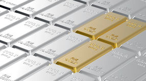 Gold and platinum ingots. Stock Image