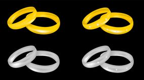 Gold and platinum wedding rings Stock Photography