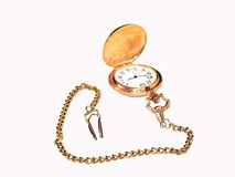 Gold Pocket Watch. With a chain, over white Royalty Free Stock Image