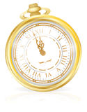 Gold Pocket Watch. Vector illustration of Gentleman's Gold Pocket watch primed at the strike of midnight on New year's Eve Stock Photo
