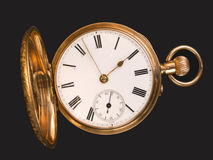 Gold pocket watch. With open hunter case Stock Image