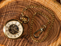 Gold Pocket Watch and Chain Royalty Free Stock Images