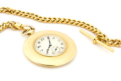 Gold Pocket watch on a chain Royalty Free Stock Images