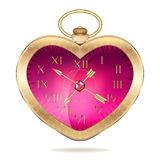 Gold pocket watch in the form of heart Stock Photos