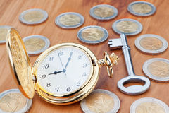 Gold pocket watch and keys. Royalty Free Stock Photos