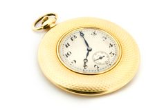 Gold pocket watch over white Royalty Free Stock Image