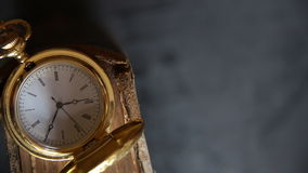 Gold pocket watch stock video