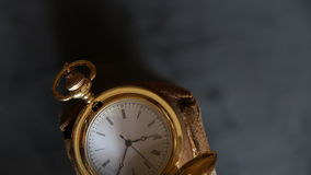 Gold pocket watch stock video footage