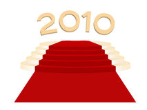 Gold podium. Anf gold 2010 New Year Royalty Free Stock Photography