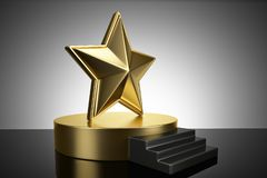 Gold podium with star on blank background. 3D illustration. Gold podium with star on blank background. 3D illustration royalty free illustration